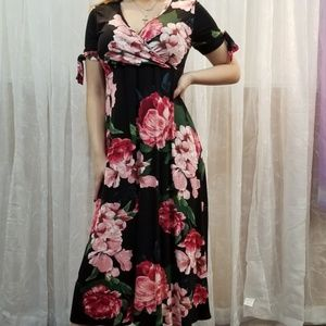 Stunning Deep V Neck Floral Dress
